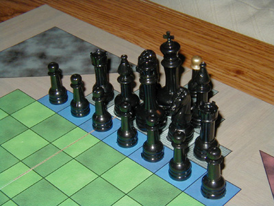 Keeps & Moats Chess -- Close-up of Black Pieces