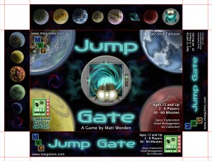 "Box top artwork for 2nd Edition of ""Jump Gate"""