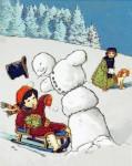 Sled Stop at Snowman