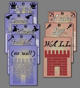 Danger at the Walls, early prototype card examples, Feb 2014