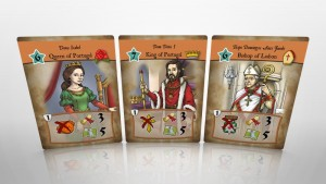 "Sponsor Cards for the Queen, King and Bishop in ""Days of Discovery"""