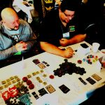 Abbottsville at Protospiel-MN, Jan 2016, with Cyrus Kirby (Father Geek) and JT Smith