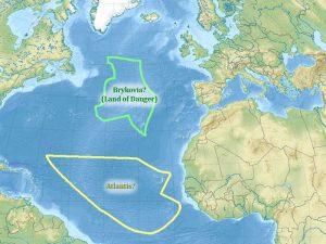 Map of potential Missing Lands - Atlantic Ocean