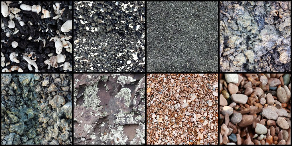 "Samples of the 8 ""Beach Rocks"" Textures"