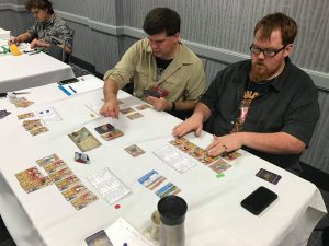 "Testing ""Days of Discovery"" at Protospiel-Madison 2016 with Nick Volkman (pictured), Alisha Volkman and Carl Klutzke"
