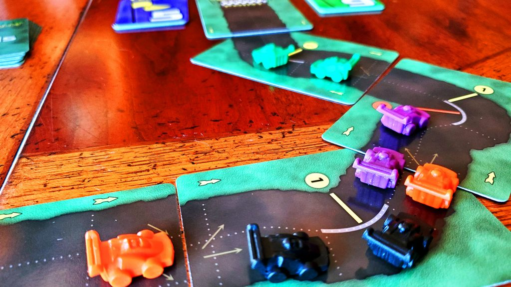 Early in a 4-player game of Dicey Curves: Road Rally