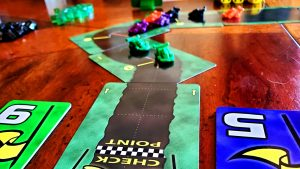 Looking back up-track from a Checkpoint in Dicey Curves: Road Rally